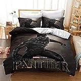 Parure de lit Avengers Black Panther - En microfibre super douce - Thème dessin animé - Pour enfants - 140 x 210 cm
