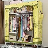 Anmas Power Armoire double mobile ouverte avec rails de suspension pour vêtements et meubles de chambre (jaune)
