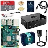 LABISTS Raspberry Pi 3 Modèle B Plus (3 B+) Starter Kit avec 32 Go Classe 10 Micro SD Carte, 5V 3A Alimentation Interrupteur Marche/Arrêt, Boîtier Noir, 2 Dissipateurs Thermiques en Cuivre, Câble HDMI