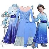 O³ Déguisement Princesse Elsa - Costume avec Couronne et Baguette Magique (Elsa 120)