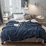 Réversible Couverture polaire à tricoter, double couche Fluffy couvertures chaudes, Super Soft Couverture Fuzzy confortable for lit et un canapé ( Color : Bleu , Taille : California King )