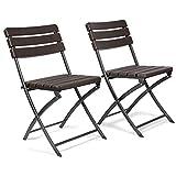 Vanage - Chaises de Jardin - Lot de 2 - Chaises pliantes de haute qualité avec Effets bois - Dossier haut - Ultra confortable et Design intemporel !