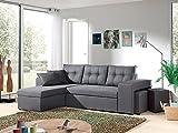 Bestmobilier - California - Canapé d'angle réversible et Convertible avec Coffre de Rangement - 246x85x145cm - Gris