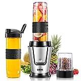 Deik Mixeur multifonction 5 en 1 avec 3 bouteilles portables, avec 4 lames en acier inoxydable pour moustache, glace, fruits, légumes et bibi, 500 W, 29000RMP