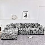 Housses de canapé d'angle pour Salon Housse élastique Extensible canapé sectionnel Chaise Longue Housse de canapé L Forme A17 4 Places