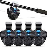 Alfaview Lot de 4 alarmes de pêche pour porte canne à pêche, capteur électronique avec son indicateur LED pour la pêche, la nuit, la pêche, la pêche d'auture, les débutants, les débutants