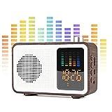 CHICAI Radio Haut-Parleur Bluetooth avec Alarme, stéréo rétro en Bois Haut-Parleur sans Fil, Carte TF/AUX-USB de Charge FM Radio numérique Réveil