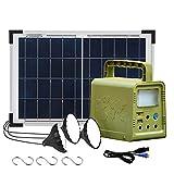 ECO-WORTHY 84Wh Générateur Solaire d'Eclairage, Kit Complet Portable avec Panneau Solaire 18W + Lampe LED pour Camping/Pêche/Randonnée/Alimentation Urgente Domestique