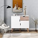 ModernLuxe Commode avec 1 tiroir et 2 portes - Armoire pour chambre à coucher, salon, salle à manger - 5 pieds de support - Blanc + chêne 89 x 39 x 82,5 cm