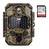 HAPIMP 32MP 4K Caméra de Chasse Vitesse de Déclenchement 0.2s Nocturne avec 45 Lumières Infrarouges Invisibles à LEDs IP66 Camera Vision Nocturne Prise en Charge Maximale Carte 512G