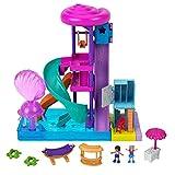 Polly Pocket Pollyville Parc Aquatique Super Glisse avec attractions, 2 mini-figurines Polly et Lila, accessoires inclus, jouet pour enfant, GNG65