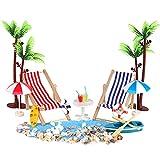 MOPOIN Mini décoration de plage - 18 pièces - Plage - Micro paysage - Chaise longue miniature - Décoration pour enfants - DIY jardin - Maison de poupée