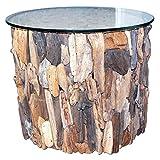 Seestern FBA_1632 Table d'appoint en bois flotté avec plateau en verre 40 x 50 x 50 cm