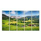 islandburner Funes Dolomiti Alpin Tableau moderne Village Val avec impression sur toile – Tableau pour fauteuils, salon, cuisine, bureau, maison – Photographie format XXL