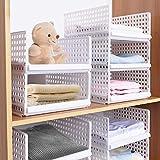 Hossejoy Lot de 4 boîtes de rangement empilables en plastique pour armoires et tiroirs amovibles, séparateurs pour vêtements, armoires, chambre à coucher (blanc)