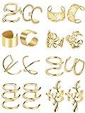 8 Paires Manchette d'Oreille en Acier Inoxydable Clip Non Piercing sur Boucles d'Oreilles Cartilage (Or, Ensemble de Style 1)