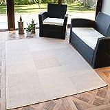 VIMODA Tapis d'intérieur et d'extérieur, à tissage plat, aspect naturel, robuste, en beige, dimensions: 140 x 200cm