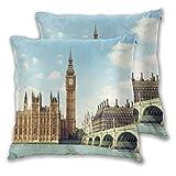 VINISATH Lot de 2 Housses de Coussin Decoratif Big Ben en journée ensoleillée à Londres Taie d'oreiller pour Canapé Maison Salon Chambre Décoration D'intérieur 60x60cm