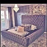 Beds & Co Regal Ambassador Cadre de lit et tête de lit capitonnés en velours - Lit 1 place, 2 places, king size, super king size (personnalisable)