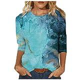 AFFGEQA Mode Femme Blouse imprimée Top Manches mi-Longues Chemise à col Rond T-Shirts décontractés