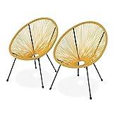 Alice's Garden Lot de 2 fauteuils Design Oeuf - Acapulco Jaune - Fauteuils 4 Pieds Design rétro, Cordage Plastique, intérieur/extérieur