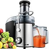 TIBEK Mixeur pour légumes et Fruits 800 W Presse-Agrumes et extracteur de jus Presse-Agrumes avec Large goulot de 75 mm, 2 Vitesses avec Base antidérapante, sans BPA