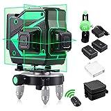 Niveau laser 360 Niveaux Laser Vert Autonivelant 3D 12 Lignes Lignes Laser à Faisceau 4D avec Vertical et Horizontal pour L'outil de Nivellement de Lignes Extérieures