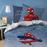 Spiderman Marvel Incredible Parure de lit 100 % Coton renforcé Gris 135 x 200 + 80 x 80 cm