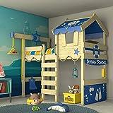 WICKEY Lit enfant 'CrAzY Jelly' bleu- Lit mezzanine - Lit cabane avec sommier à lattes - 90x200 cm