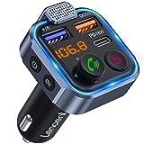 LENCENT Transmetteur FM Bluetooth Voiture, Allume Cigare Bluetooth 5.0 Émetteur Radio, Chargeur Rapide de Voiture PD 20W Type C+ QC3.0, Appels Mains Libres, Lecteur de Musique MP3 Basse Support U Disk