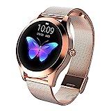 LUNIQUESHOP Round Smartwatch, Bluetooth 5.0 Montre Intelligente Femme avec Fréquence Cardiaque, Podometre Sommeil Suivi de Performance Etanche IP68, Bracelet connecté, pour Android/iOS (Or Rose)