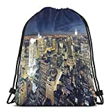 DPASIi Drawstring Shoulder Backpack Travel Daypack Gym Bag Sport Yoga,Modern Cityscape After Sunset Manhattan New York USA Architectural View,5 Liter Capacity,Adjustable.
