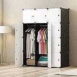 PREMAG Armoire Portable DIY, Penderie avec Portes, Tige Suspendue, Construction Solide pour Vêtements, Chaussures, Accessoires, Noir et Blanc 12 Cubes
