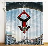 lubenwei Rideau de Bande dessinée Spiderman Hero expédition Rideau occultant fenêtre cantonnière Rideaux pour Salon Chambre décoration 180(H) x125(W) Cmx2 Panneaux/Ensemble (B-191)