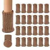 Ezprotekt tricoté Table Chaise Jambe Chaussettes élastique Chaise Meubles Chaussettes Définit Wood protecteurs de Sol pour Pieds de Meubles, Marron Clair, 24 Pack