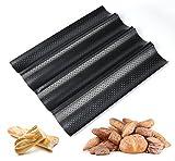 ilauke Plaque à Pain Perforée 4 Baguettes Plaque Moule Anti-adhésif Réversible pour Biscuits Pâtisserie