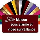 Plaque Maison Sous Alarme Et Vidéosurveillance Autocollante – Plaque De Maison PVC Adhésive 10 x 5 cm – 21 Couleurs Disponibles (Bordeaux)