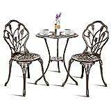 RELAX4LIFE Ensemble Salon de Jardin avec 1 Table et 2 Chaises, Set de Bistro en Alu Fonte avec Apparence Vintage, Bronzé, pour Jardin, Balcon, Terrasse