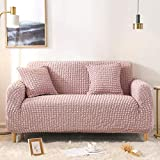 HYRGLIZI 1/2/3/4 Seater Stretch Slipcovers,Elastic Sofa Shield,Universal Sofa Saver Protector, Bubble Cloth Couch Cover, All-Inclusive Slip Cover, Bedroom Sofa Cover-Pink_3_Seater/Sofa