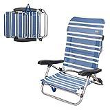 Aktive 62600 Chaise de Plage Pliante Basse 5 Positions Marine 61 x 53 x 78 cm