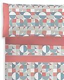 Parure de lit imprimée Coton polyester. 4 pièces, 2 taies d'oreiller, drap-housse ajustable et drap plat. Qualité et design. Doux et résistant. Puzzles Coral. Lit de 150 cm.
