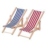 2pièces 1: 12miniature pliable Chaise de plage en bois Chaise longue Chaise longue Mini meubles Accessoires avec Rouge/bleu à rayures pour intérieur ou extérieur