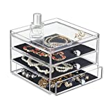 mDesign armoire à tiroirs – la boîte de rangement à trois tiroirs – utilisable par exemple comme organisateur de bijoux intelligent