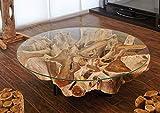 Design Teakholz Couchtisch für das Wohnzimmer | Wurzelholz Tisch mit 100 cm Glasplatte auf drei schwarzen Metallfüßen |Handarbeit Unikat, Montageanleitung