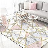 PANGLDT Tapis Chic Noble Moderne Design -Tapis Moelleux Modernes, Ligne de marbre Blanc Nordique doré- Salon Chambre Maison Tapis Coussin de Chaise d'ordinateur-120x160cm