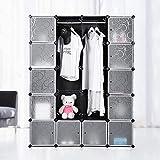 Krispich Armoire cube modulaire avec 20 compartiments, meuble pour salle de bain, chambre à coucher, entrée, meuble à chaussures, commode 147 x 37 x 183 cm, couleur noire
