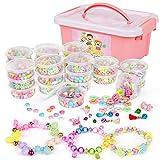 Sanlebi Enfants Bricolage Perles Set, 2000 Pièces Bracelet Perle pour Fabrication de Bracelets,Collier, Kit Fabrication Bijoux Jeux Bricolage pour Filles