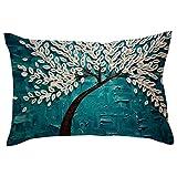 DEELIN 1 PC Taie d'oreiller Canapé Coussin Rectangle Créatif Fleurs De Cerisier Arbre Motif Décor À La Maison Housse de Coussin Cas Taie d'oreiller en Coton Lin 30 × 50CM