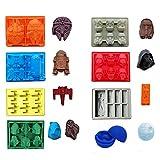 Proxiceen Star Wars Lot de 8 bacs à glaçons/chocolats en silicone : Stormtrooper, Dark Vador, X-Wing Fighter, Millennium Falcon, R2-D2, Han Solo, Boba Fett, et étoile de la mort