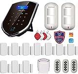 Wolf-Guard WM2GR-P Système d'alarme de sécurité WiFi et GSM‿433 MHz avec détecteur de mouvement respectueux des animaux domestiques, alarme de batterie faible, étiquette RFID, télécommandes, Sirène